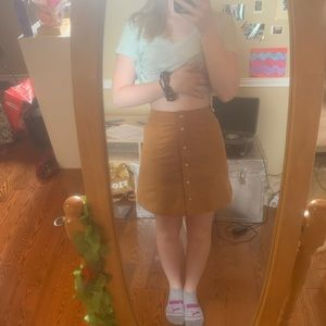 Button up Suede mini skirt from H&M